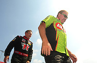 Jul, 10, 2011; Joliet, IL, USA: NHRA top fuel dragster driver Terry McMillen (right) with Doug Kalitta during the Route 66 Nationals at Route 66 Raceway. Mandatory Credit: Mark J. Rebilas-