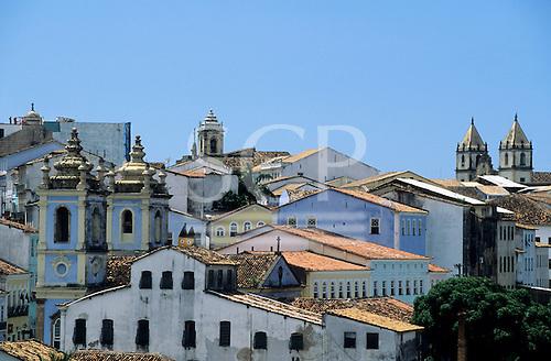 Salvador, Bahia State, Brazil. Buildings and rooftops of Pelhourino.