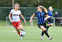 Brugge's Talitha De Groote pictured with Essevee's Amber De Priester during a female soccer game between Club Brugge Dames YLA and Zulte Waregem Ladies on the third matchday of the 2020 - 2021 season of Belgian Scooore Womens Super League , saturday 3 October 2020  in Brugge , Belgium . PHOTO SPORTPIX.BE | SPP | DAVID CATRY