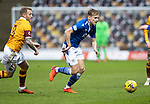 Motherwell v St Johnstone…20.02.21   Fir Park   SPFL<br />Ali McCann tracked by Robbie Crawford<br />Picture by Graeme Hart.<br />Copyright Perthshire Picture Agency<br />Tel: 01738 623350  Mobile: 07990 594431