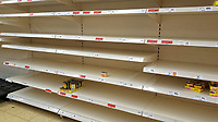 Pictured: Empty shelves in the canned vegetables section in the Sainsbury's super market, in Swansea, Wales, UK. <br /> Re: Covid-19 Coronavirus pandemic, UK.