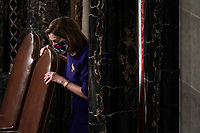 Speaker of the United States House of Representatives Nancy Pelosi (Democrat of California) calls the House in order prior to a joint session of Congress to count the Electoral College votes from the 2020 presidential election on Wednesday, January 6, 2021.<br /> CAP/MPI/RS<br /> ©RS/MPI/Capital Pictures