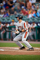 Aberdeen IronBirds right fielder Cody Roberts (48) follows through on a swing during a game against the Tri-City ValleyCats on August 27, 2018 at Joseph L. Bruno Stadium in Troy, New York.  Aberdeen defeated Tri-City 11-5.  (Mike Janes/Four Seam Images)