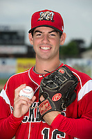 Batavia Muckdogs pitcher Tyler Kane (16) poses for a photo during media day on June 10, 2014 at Dwyer Stadium in Batavia, New York.  (Mike Janes/Four Seam Images)
