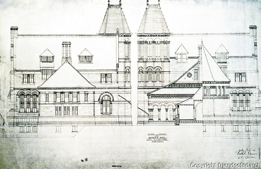 H.H. Richardson: Winn Library plan, Woburn, MA. 1876-79. National Historic Landmark, 1987
