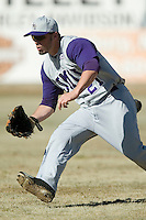 James Madison right fielder Kellen Kulbacki (21) charges the ball versus Charlotte at Fieldcrest Cannon Stadium in Kannapolis, NC, Friday, March 2, 2007.  The Charlotte 49'ers defeated the James Madison Dukes 16-7.