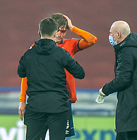 7th November 2020 The John Smiths Stadium, Huddersfield, Yorkshire, England; English Football League Championship Football, Huddersfield Town versus Luton Town; Luke Berry of Luton Town  receives treatment for cut head