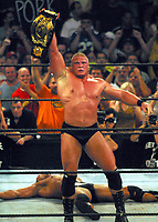 Brock Lesnar vs Dwayne The Rock Johnson 2002 Photo By John Barrett/PHOTOlink