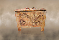 Minoan  pottery larnax coffin chest with fstylised floral decorations,  Episkopi-Lerapetra 1350-1250 BC, Heraklion Archaeological  Museum.