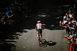 The breakaway king Thomas de Gendt (BEL) Lotto-Soudal out front during Stage 8 of the 2019 Tour de France running 200km from Macon to Saint-Etienne, France. 13th July 2019.<br /> Picture: ASO/Pauline Ballet   Cyclefile<br /> All photos usage must carry mandatory copyright credit (© Cyclefile   ASO/Pauline Ballet)