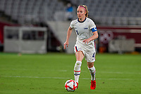 TOKYO, JAPAN - JULY 21: Becky Sauerbrunn #4 of the United States looking on the ball during a game between Sweden and USWNT at Tokyo Stadium on July 21, 2021 in Tokyo, Japan.
