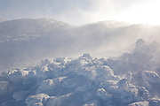 Appalachian Trail - Extreme weather conditions near the summit of Mount Washington during the winter months in the White Mountains, New Hampshire USA