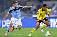 Ciro Immobile of SS Lazio and Jude Bellingham of Borussia Dortmund during the Champions League Group Stage F day 1 football match between SS Lazio and Borussia Dortmund at Olimpic stadium in Rome (Italy), October, 200 Italy, 2020. Photo Andrea Staccioli / Insidefoto
