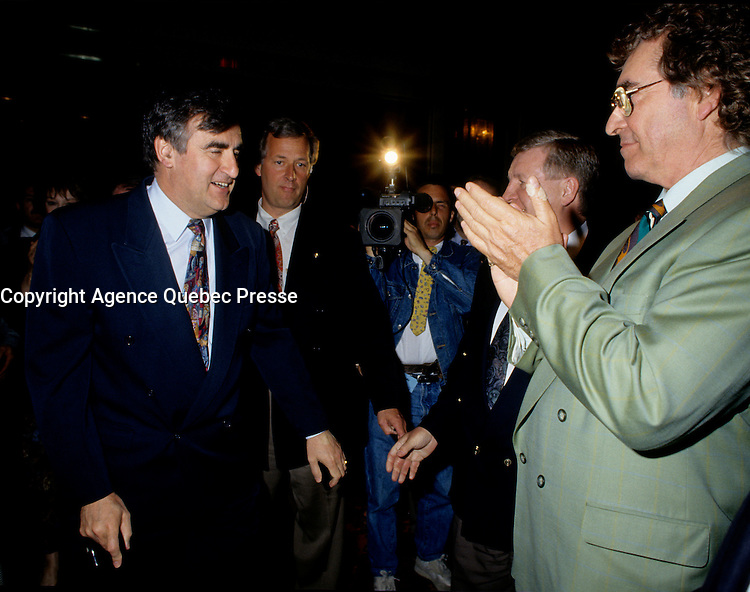 """Montreal (Qc) CANADA - File Photo - May 1996 -<br /> <br /> Lucien Bouchard,  Leader Parti Quebecois (from Jan 29, 1996 to March 2, 2001). seen in a May 1996 file photo <br /> After the Yes side lost the 1995 referendum, Parizeau resigned as Quebec premier. Bouchard resigned his seat in Parliament in 1996, and became the leader of the Parti QuÈbÈcois and premier of Quebec.<br /> <br /> On the matter of sovereignty, while in office, he stated that no new referendum would be held, at least for the time being. A main concern of the Bouchard government, considered part of the necessary conditions gagnantes (""""winning conditions"""" for the feasibility of a new referendum on sovereignty), was economic recovery through the achievement of """"zero deficit"""". Long-term Keynesian policies resulting from the """"Quebec model"""", developed by both PQ governments in the past and the previous Liberal government had left a substantial deficit in the provincial budget.<br /> <br /> Bouchard retired from politics in 2001, and was replaced as Quebec premier by Bernard Landry."""