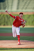 Ethan Hankins (31) of Forsyth Central High School in Cumming, Georgia delivers a pitch during the Under Armour All-American Game presented by Baseball Factory on July 29, 2017 at Wrigley Field in Chicago, Illinois.  (Mike Janes/Four Seam Images)