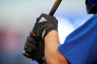 On deck batter wearing adidas batting gloves during the East Coast Pro Showcase on July 29, 2015 at George M. Steinbrenner Field in Tampa, Florida.  (Mike Janes/Four Seam Images)