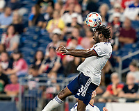 FOXBOROUGH, MA - AUGUST 18: Chris Odoi-Atsem #3 of D.C. United heads the ball during a game between D.C. United and New England Revolution at Gillette Stadium on August 18, 2021 in Foxborough, Massachusetts.