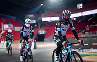 Esteban Chaves (COL/BikeExchange) during the team presentation inside the empty Spirou Basketbal Dome in Charleroi<br /> <br /> 85th La Flèche Wallonne 2021 (1.UWT)<br /> 1 day race from Charleroi to the Mur de Huy (BEL): 194km<br /> <br /> ©kramon