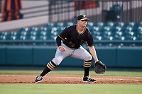 Bradenton Marauders first baseman Albert Baur (23) during the second game of a doubleheader against the Lakeland Flying Tigers on April 11, 2018 at Publix Field at Joker Marchant Stadium in Lakeland, Florida.  Bradenton defeated Lakeland 1-0.  (Mike Janes/Four Seam Images)