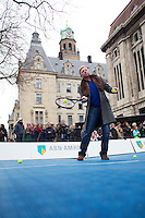 09-02-13, Tennis, Rotterdam, qualification ABNAMROWTT, Boris Becker, the winner of 1992 plays some tennis with Esther vergeer against Tournament director Richard Krajicek and sports official of the city of Rotterdam.