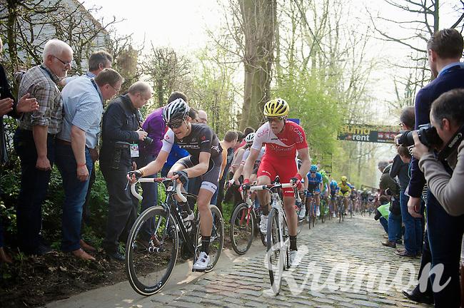 Jasper Stuyven (BEL/Trek Factory Racing) & Romain Zingle (BEL/Cofidis) side by side up the Taaienberg<br /> <br /> 57th E3 Harelbeke 2014