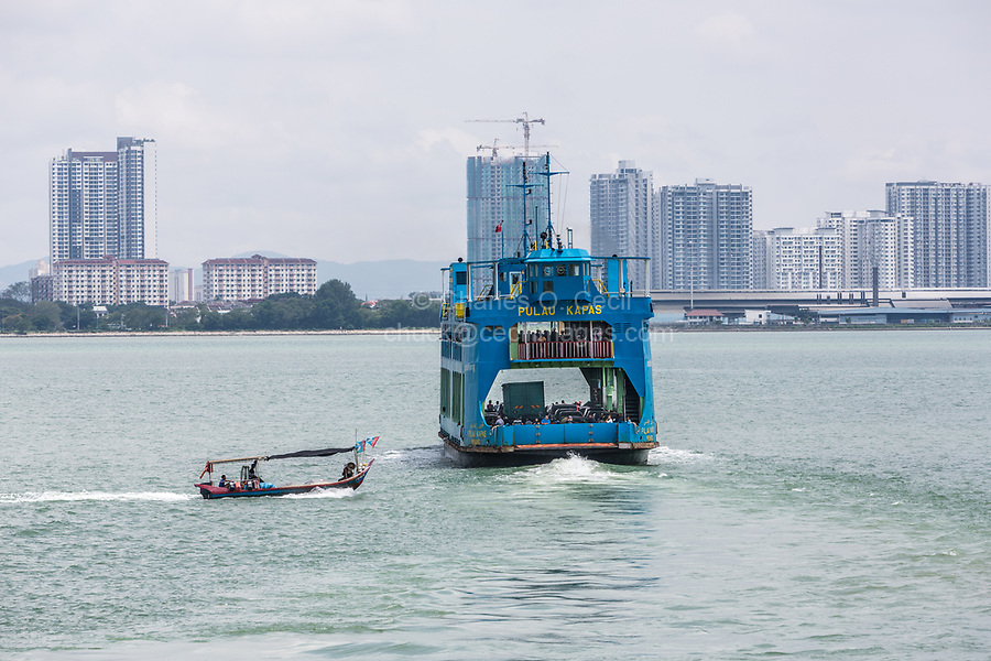 George Town, Penang, Malaysia.  Car Ferry Leaving for Butterworth, in background.
