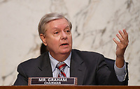 United States Senator Lindsey Graham (Republican of South  Carolina), Chairman, US Senate Judiciary Committee, speaks during a US Senate Judiciary Committee confirmation hearing on the nomination of Amy Coney Barrett for Associate Justice of the Supreme Court, on Capitol Hill in Washington, DC on Thursday, October 15, 2020.  If confirmed, Barrett will replace Justice Ruth Bader Ginsburg, who died last month.  <br /> Credit: Kevin Dietsch / Pool via CNP /MediaPunch
