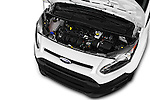 Car Stock 2018 Ford Transit-Connect Van-XL-SWB-(Rear-Liftgate) 5 Door Mini MPV Engine  high angle detail view