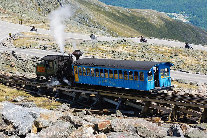 The Mount Washington Cog Railway on the summit of Mount Washington in the White Mountains, New Hampshire. Completed in 1869, this three mile railroad leads to the summit of Mount Washington. This is the Moosilauke locomotive.