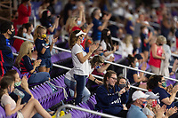 ORLANDO CITY, FL - FEBRUARY 18: USA Supporters cheer during a game between Canada and USWNT at Exploria stadium on February 18, 2021 in Orlando City, Florida.