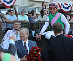 June 7, 2014: #1 Close Hatches, trained by Bill Mott (holding blanket of flowers) and ridden by Joel Rosario, wins the 46th running of the Grade I Ogden Phipps, one mile and a sixteenth for fillies and mares four and older at Belmont Park , Elmont, NY  ©Joan Fairman Kanes/ESW/CSM