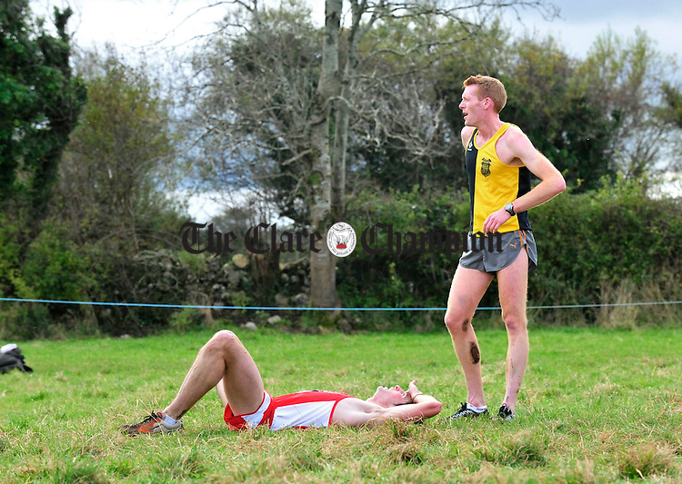 Rory Chesser and Brian Maher wind down after their race. Photograph by Declan Monaghan