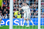 Real Madrid Karim Benzema and Gareth Bale celebrating a goal during UEFA Champions League match between Real Madrid and FC Viktoria Plzen at Santiago Bernabeu Stadium in Madrid, Spain. October 23, 2018. (ALTERPHOTOS/Borja B.Hojas)