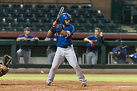 AZL Rangers designated hitter Reynaldo Pichardo (50) at bat during an Arizona League game against the AZL Giants Black at Scottsdale Stadium on August 4, 2018 in Scottsdale, Arizona. The AZL Giants Black defeated the AZL Rangers by a score of 6-3 in the second game of a doubleheader. (Zachary Lucy/Four Seam Images)