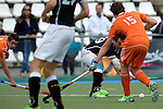 GER - Mannheim, Germany, May 16: During the whitsun tournament boys hockey match between Germany (black) and The Netherlands (orange) on May 16, 2016 at Mannheimer HC in Mannheim, Germany. Final score 4-3 (HT 2-0). (Photo by Dirk Markgraf / www.265-images.com) *** Local caption *** Luca Wolff #19 of Germany (U16)