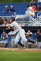 West Virginia Black Bears left fielder Ty Moore (55) at bat during a game against the Batavia Muckdogs on June 28, 2016 at Dwyer Stadium in Batavia, New York.  Batavia defeated West Virginia 3-1.  (Mike Janes/Four Seam Images)