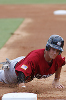Bryce Harper sliding back into 1st base at the Tournament of Stars event run by USA Baseball at the USA Baseball National Training Complex in Cary, NC on June 24, 2009.  Photo by Robert Gurganus/Four Seam Images
