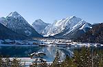 Austria, Tyrol, winter at Achen Lake with Pertisau and Karwendel mountains