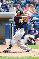 Terrell Joyce (2) of the Quad Cities River Bandits follows through on his swing against the West Michigan Whitecaps at Fifth Third Ballpark on May 5, 2013 in Comstock Park, Michigan.  The River Bandits defeated the Whitecaps 5-4.  (Brian Westerholt/Four Seam Images)