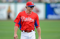 Philadelphia Phillies second baseman Chase Utley #26 before a Spring Training game against the Boston Red Sox at Bright House Field on March 24, 2013 in Clearwater, Florida.  Boston defeated Philadelphia 7-6.  (Mike Janes/Four Seam Images)