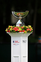 4th September 2020, Atlanta GA, USA;  The TOUR Championship trophy is displayed at the first hole tee box during the first round of the TOUR Championship  at the East Lake Golf Club in Atlanta, GA.