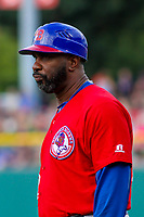 Buffalo Bisons position coach Devon White (22) coaching first base during an International League game against the Indianapolis Indians on July 28, 2018 at Victory Field in Indianapolis, Indiana. Indianapolis defeated Buffalo 6-4. (Brad Krause/Four Seam Images)