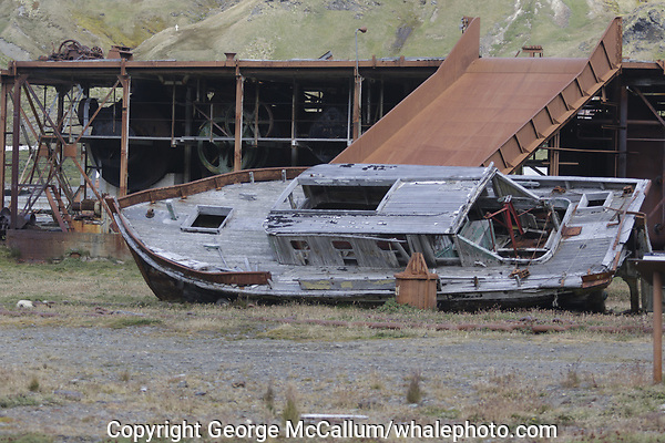 old boat and apparatus at Former whaling station at Grytviken. South Georgia islands, Southern Ocean, Antarctica.