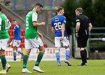 St Johnstone v Hibs……23.08.20   McDiarmid Park  SPFL<br />An angry Liam Craig has words with referee John Beaton after the final whistle who showed him a second yellow card and sent him off<br />Picture by Graeme Hart.<br />Copyright Perthshire Picture Agency<br />Tel: 01738 623350  Mobile: 07990 594431