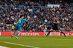 Real Madrid's Thibaut Courtois and Real Valladolid's Ruben Alcaraz during La Liga match between Real Madrid and Real Valladolid at Santiago Bernabeu Stadium in Madrid, Spain. November 03, 2018. (ALTERPHOTOS/A. Perez Meca)