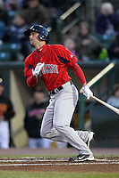 Pawtucket Red Sox outfielder Alex Hassan #29 gets his first triple-A hit, a double, during a game against the Rochester Red Wings at Frontier Field on April 13, 2012 in Rochester, New York.  Pawtucket defeated Rochester 4-3.  (Mike Janes/Four Seam Images)