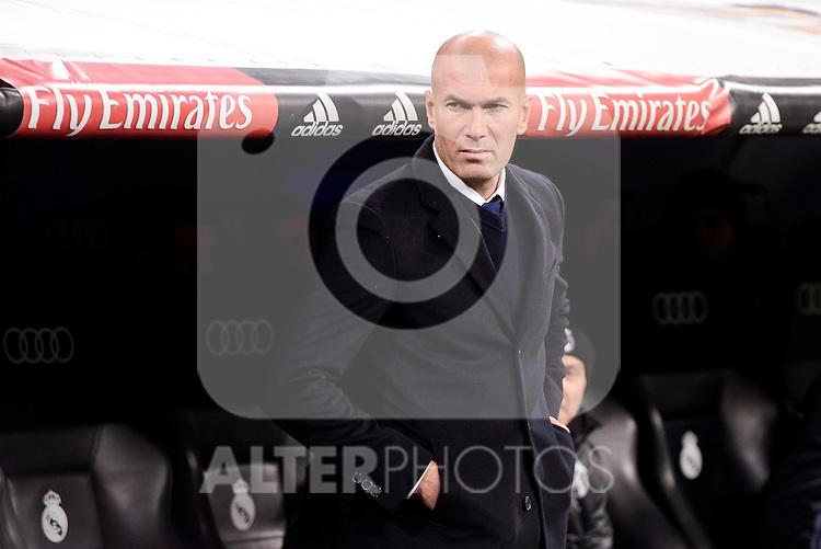 Real Madrid's coach Zinedine Zidane during Copa del Rey match between Real Madrid and Celta de Vigo at Santiago Bernabeu Stadium in Madrid, Spain. January 18, 2017. (ALTERPHOTOS/BorjaB.Hojas)