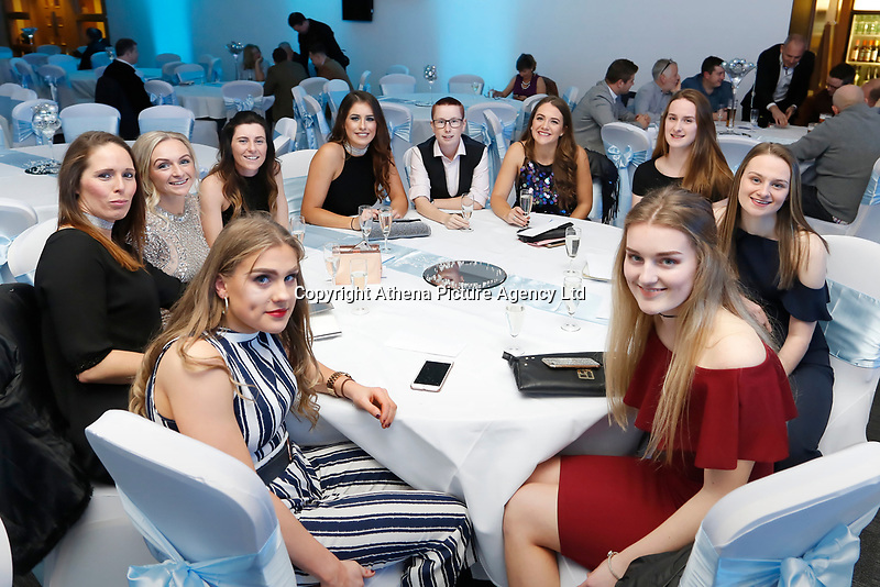 Pictured: The Ladies football team<br /> Re: Swansea City FC Christmas party at the Liberty Stadium, Wales, UK. Thursday 14 December 2017