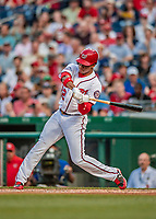 21 May 2018: Washington Nationals outfielder Juan Soto, making his first career Major League start, gets a bead on the delivery by the San Diego Padres pitcher in the second inning at Nationals Park in Washington, DC. The 19 year-old Soto then connected for his first career MLB hit: a 3-run home run on the first pitch he faced as the Nationals defeated the Padres 10-2, taking the first game of their 3-game series. Mandatory Credit: Ed Wolfstein Photo *** RAW (NEF) Image File Available ***