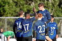 Joao Moreira of the Miramar Rangers celebrates a goal with team mates during the Central League Football - Miramar Rangers AFC v Wainuiomata AFC at David Farrington Park, Wellington, New Zealand on Saturday 17 April 2021.<br /> Copyright photo: Masanori Udagawa /  www.photosport.nz